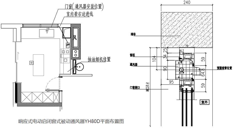 响应式电动通风器YH80D平面布置原理图2