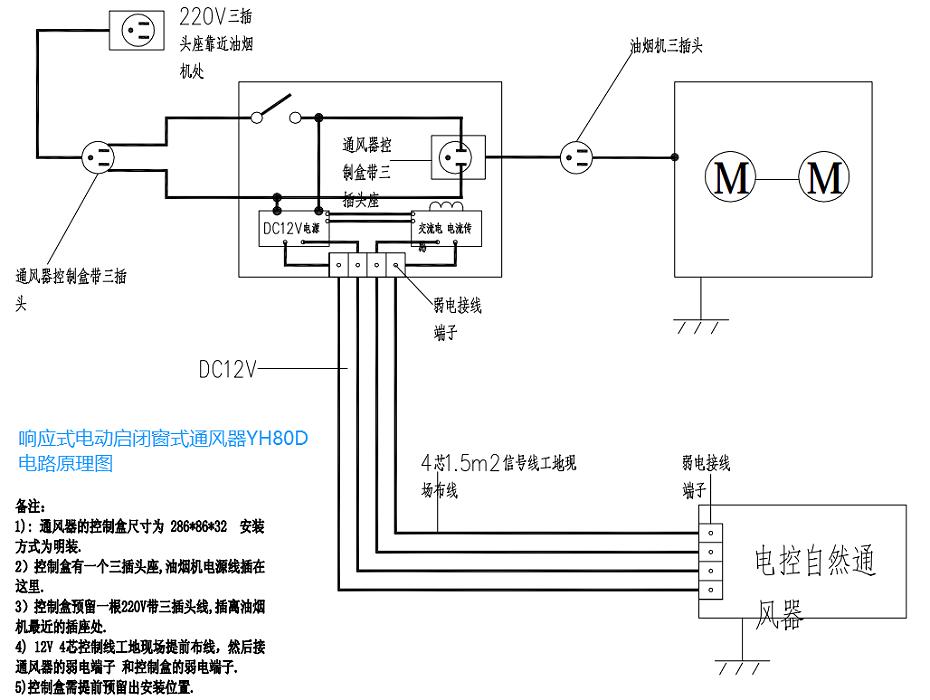 响应式电动通风器YH80D电路原理图