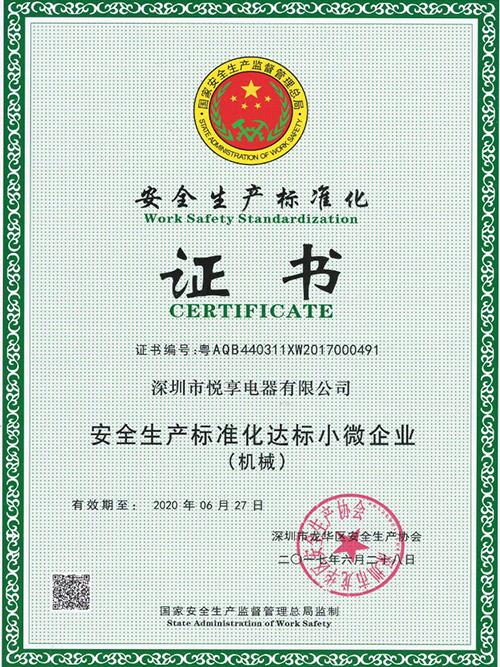 悦享E7安全生产达标证书